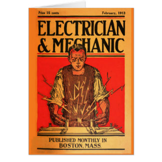 """1913 Feb-Electrician and Mechanic"" Card"