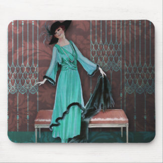 1913 Luxe: Vintage Fashion in Aqua and Rose Mouse Pad
