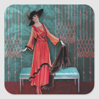 1913 Luxe: Vintage Fashion in Red and Turquoise Square Sticker