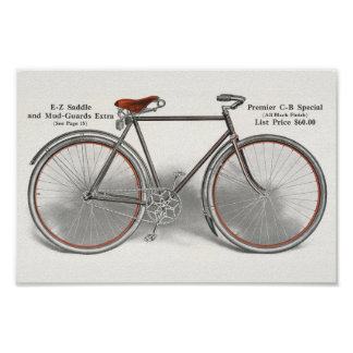 1913 Vintage Premier Special Bicycle Ad Art Poster