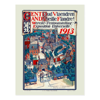 1913 World Expo Ghent Old Flanders Historical Postcard