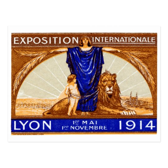 1914 Lyon International Expo Poster Postcard