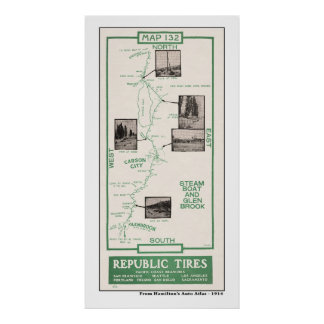 1914 Map, Carson City, Steamboat, Glenbrook Poster