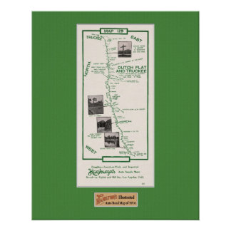 1914 Map, Dutch Flat to Truckee - Grn Mat Poster