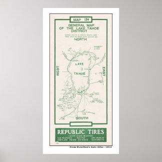1914 Map of Lake Tahoe Poster