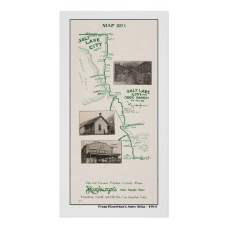1914 Map, Salt Lake City and Orr's Ranch Poster