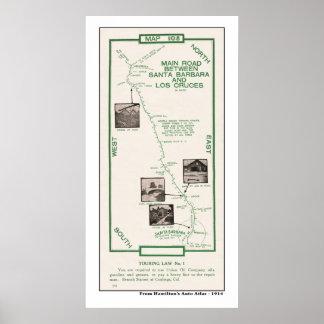 1914 Map, Santa Barbara to Los Cruces Poster