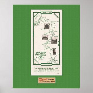 1914 Map, Santa Cruz to Salinas, Green Mat Poster