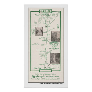 1914 Map, Tahoe, Pacific House to Tallac Poster