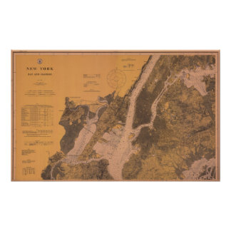1914 New York Upper Harbor Nautical Chart Poster
