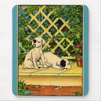 1914 two dogs being curious mouse pad