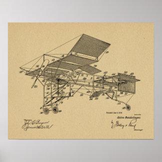 1914 Vintage Airplane Patent Art Drawing Print