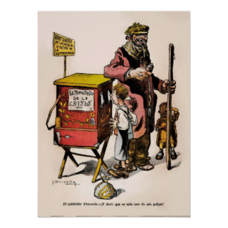 1914 Vintage Cartoon Argentina Crisis Poster