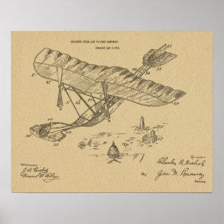 1915 Vintage Airplane Patent Art Drawing Print