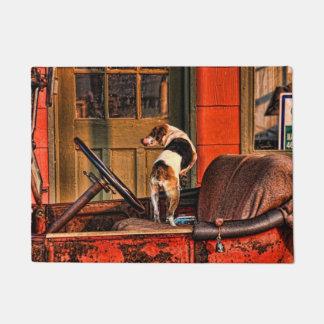 1915 VINTAGE CAR AND DOG DOORMAT
