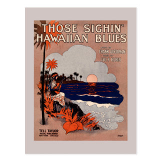 1916 Vintage Hawaii blues sheet music cover Postcard