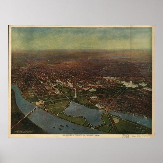 1916 Washington D.C. Birds Eye View Panoramic Map Poster