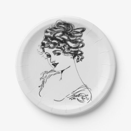 1917 Art Nouveau Ink Drawing By My Grandpa Paper P 7 Inch Paper Plate