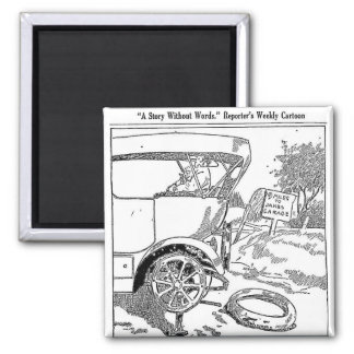 1917 Flat Tire Cartoon Magnet