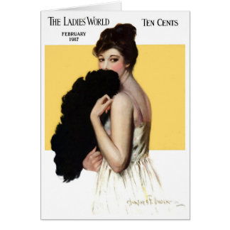 1917!!! LADIES' WORLD FASHION&BEAUTY GREETING CARD