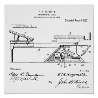 1917 Vintage Chiropractic Table Patent Art Print