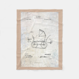 1918 Baby Carriage Patent Fleece Blanket