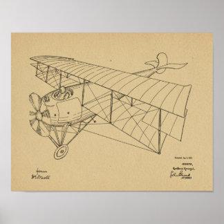 1918 Biplane Airplane Patent Art Drawing Print