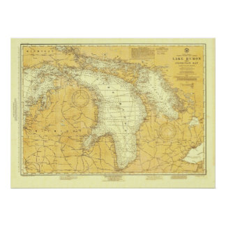 1918 Lake Huron Historic Nautical Chart Poster
