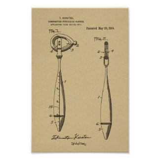 1918 Medical Reflex Hammer Patent Art Print