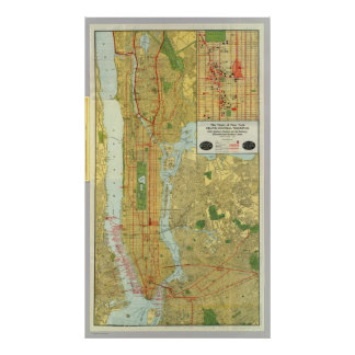 1918 New York Central Railroad Map Poster