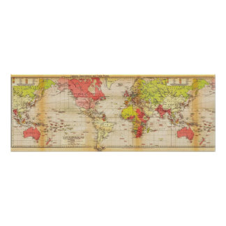 1918 world map Empires and Trade Poster