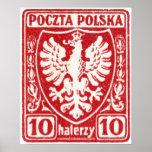 1919 10h Polish Eagle Stamp Print