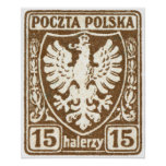 1919 15h Polish Eagle Stamp Poster
