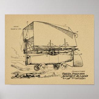 1919 Flying Car Airship Patent Art Drawing Print