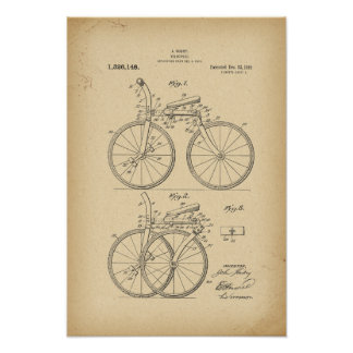 1919 Patent folding bicycle Poster