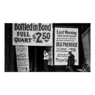 1919 PROHIBITION LAST WARNING SALE POSTER