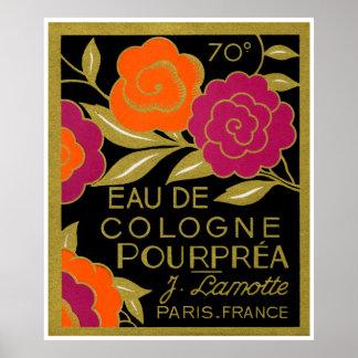 1920 French Eau de Cologne Pourprea perfume Poster