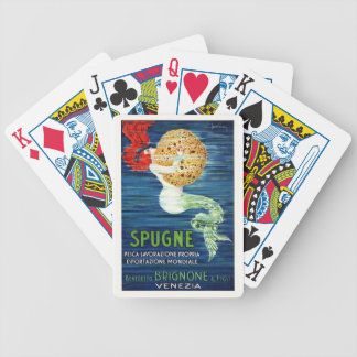 1920 Italian Mermaid With Sponge Advertising Poste Bicycle Playing Cards