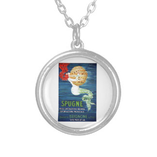 1920 Italian Mermaid With Sponge Advertising Poste Silver Plated Necklace