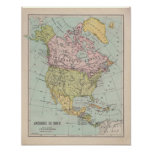1920 ' S French North America Map Poster