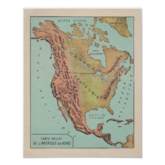 1920 ' S French North America Physical Map Poster
