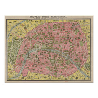 1920 Scenic Sights Travel Map of Paris, France Poster