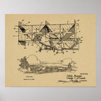 1920 Vintage Biplane Airplane Patent Drawing Print