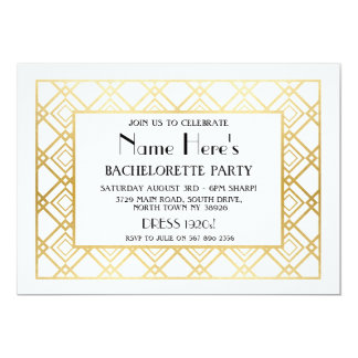 1920's Art Deco Bachelorette Party Bridal Shower Card