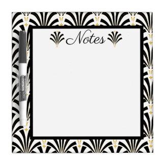 1920s Art Deco Black & White Palmettos Dry Erase Board