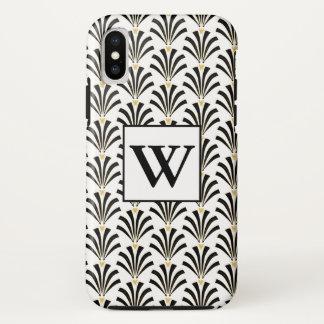 1920s Art Deco Black & White Palmettos iPhone X Case