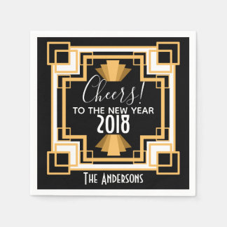 1920s Art Deco Cheers To The New Year Napkin