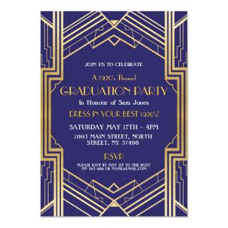 1920s Art Deco Graduation Invite Gatsby Party Gold