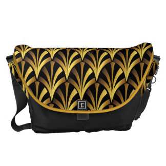 1920's Art Deco Style Fan Pattern in Black & Gold Courier Bags