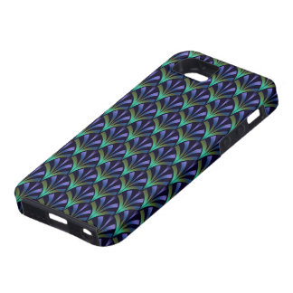 1920s Art Deco Style Fan Pattern in Peacock Colors iPhone 5 Cover